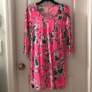 Lilly Pulitzer XS beacon dress hot pink Parrott 🎉